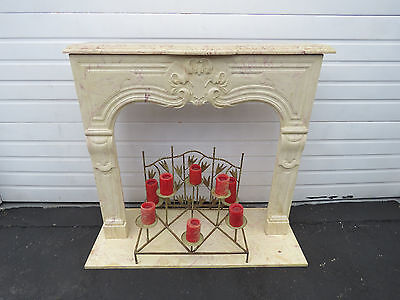 Carved Marble Fireplace Mantel and Candle Holder 8495