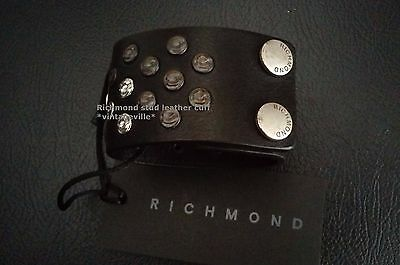 John Richmond leather stud wristband NWT Made in Italy