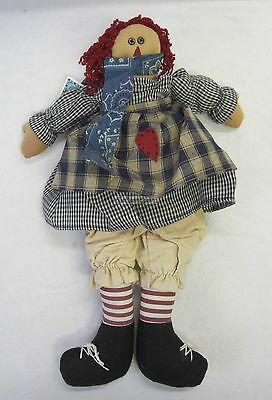New Fabric Rag Doll Polly Rustic Country Style With Wool Hair & Embroidered Face