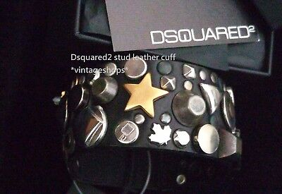 Dsquared2 stud leather cuffs NWT in box Authentic items