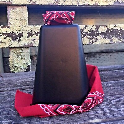 "NEW 7-3/4"" XXL Black Bessie More Cowbell with Red Bandanna for sport cheering"