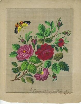 Antique Hand Painted Berlin Woolwork Embroidery Chart by L.W. Wittich - ROSES