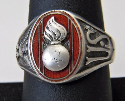 Vintage Rare Sterling Silver Ordnance Corps Flaming Shell Us Military Ring
