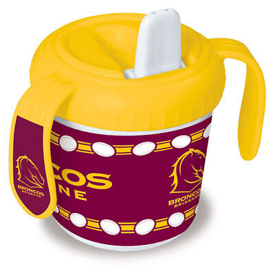 Brisbane Broncos NRL Training Sipper Sippy Cup With 2 Easy Grip Handles Gift