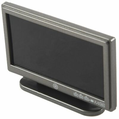 Dollhouse Miniature Widescreen Flat Panel LCD TV with Remote Gray Y2O2