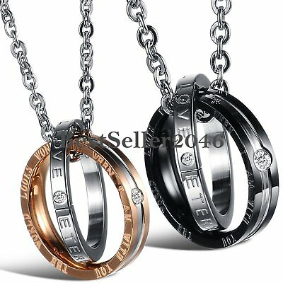 His and Hers Interlocking Ring Matching Promise Eternal Love Couple Necklace Set