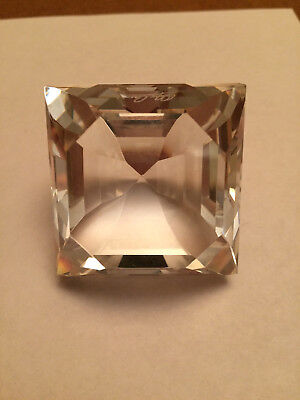 Oleg Cassini Crystal Clear Square Diamond Paperweight Prism Red Heart Mirror Box