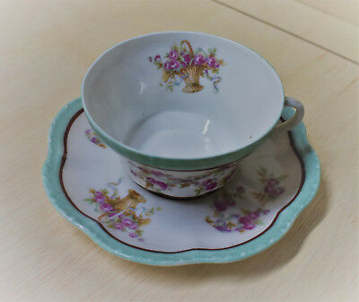 Vintage Austria Eagle China Porcelain Teacup and Saucer with Roses in Baskets