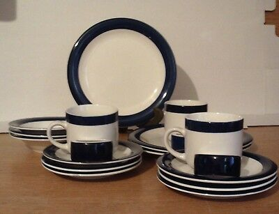 Totally Today Navy and White 18 Piece Dinnerware Set Service For 3 & TOTALLY TODAY NAVY and White 18 Piece Dinnerware Set Service For 3 ...