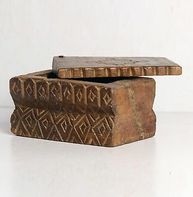Antique Old Rare Original Wooden Hand Carved South Indian Spices Box-4377