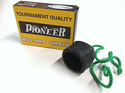 Pool Snooker Billiard Cue Tip Table Chalk AND black Heavy Duty Chalk Holder