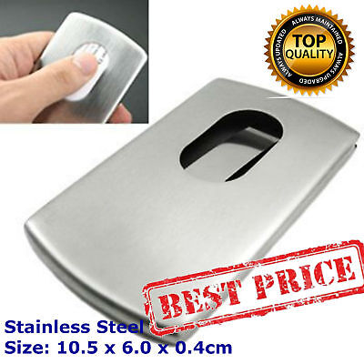 Pocket Business Card Holder Stainless Steel Metal Case ID Credit Silver Wallet