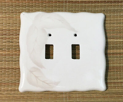 Ivory Ceramic Double Light Switch Plate w/ Soft Leaf Leaves • 2 Screw Holes Only