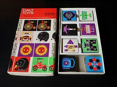 Vintage Galt Remember Remember tile pairs game by Kenneth Townsend. 70s Snap