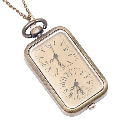 81stgeneration Women's Brass Vintage Style Dual Time Zone Pocket Watch Chain ...
