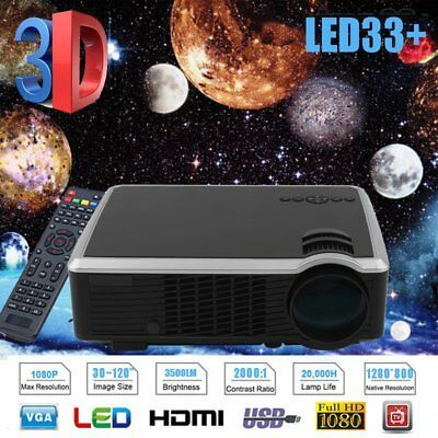 3500Lumens Home Theater Cinema LED Projector 1080P HD HDMI VGA USB Multimedia XU