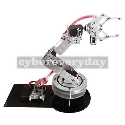 Metal Alloy 6 DOF Robotic Robot Arm Clamp Claw+ Swivel Rotatable Stand Mount Kit