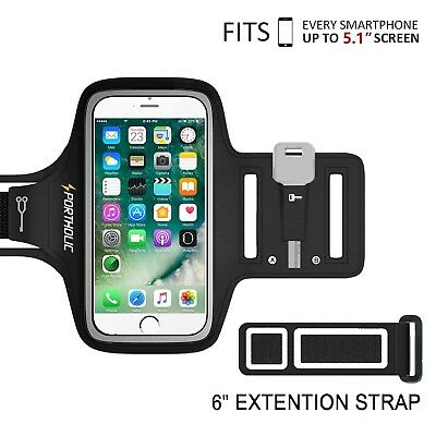 PORTHOLIC Universal Sweat Resistant Sports Armband For iPhone 6/6s/7/8/5 Sams...