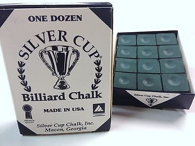 Quality USA Silver Cup Pool Snooker Billiard Cue Tip Table Chalk DARK GREEN