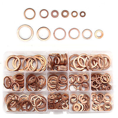 280pcs Solid Copper Washers Spacer Flat Ring Gasket Assortment Kit Box 12 Sizes