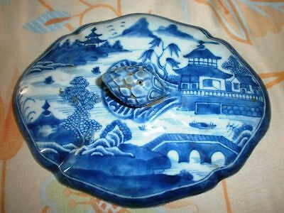 Very Rare Old Blue & White Antique Chinese Porcelain Bowls Lid Vintage Genuine