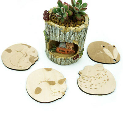Cute Wooden Animal Carved Coasters Lovely Table Mat Heat Insulation Cup Mat JR29