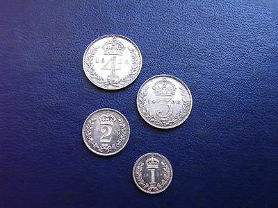 1908 Edward VII Maundy Set (4 coins) without a box