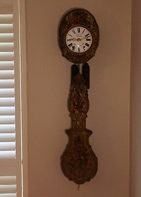 19th Century Hand Painted Antique French Comtoise Wall Clock