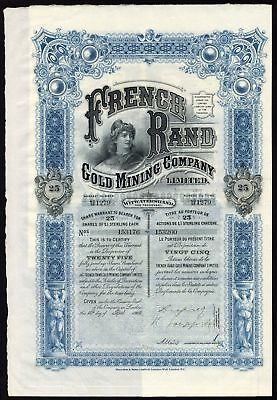 South Africa: French Rand Gold Mining Co. Ltd., 25 shares of £1, 1902, Waterl...