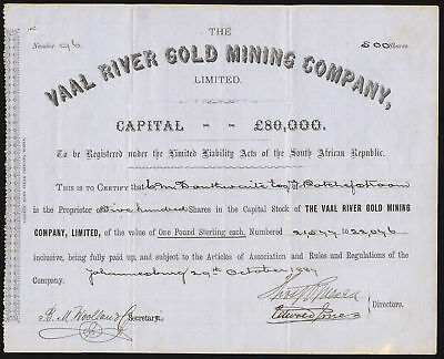 South Africa: Vaal River Gold Mining Co. Ltd., £1 shares, 1887, grey paper, VF