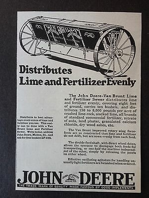 Vintage Ad 1920 (Xx42)~John Deere-Van Brunt Lime And Fertilizer Sower