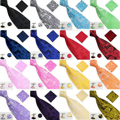 Mens Rich Feel Tie Handkerchief Set Silk Floral Pocket Square Napkin Hanky Cuff
