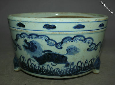 22.5 Collect Chinese Old Blue and White Porcelain Handmade Lion Beast Pot Jar