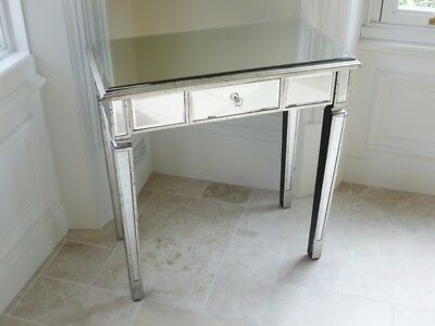 Silver Mirrored dressing console table shabby vintage chic bedroom furniture