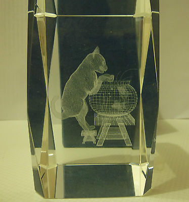 3D Laser Engraved Solid Cube Cat