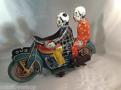 Mettoy OU2 Circus Clown Rider and Passenger Tin Toy Motorcycle Clockwork Rare !!
