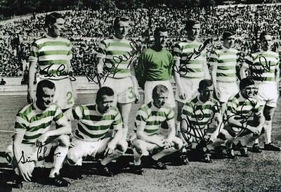 CELTIC 1967 EUROPEAN CUP FINAL LISBON LIONS SIGNED 12x8 INCH LAB PRINTED PHOTO