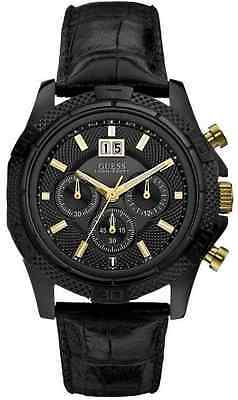 GUESS Men's W0176G1 Phanton Chronograph Black Dial and Leather Strap Watch - NEW