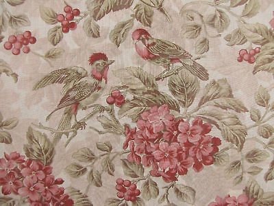 Antique French 19th century bird pink green floral ~*~