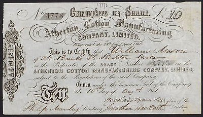 Atherton Cotton Manufacturing Co. Ltd., £10 shares, 1861, Lancashire