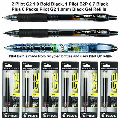 Pilot G2 1.0 mm Bold Black Gel Ink Pens With Refills, 9 Piece Assortment
