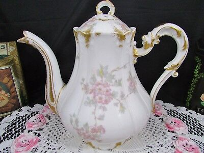 Charles Field Haviland Gdm Pink Floral Ornate Teapot Coffee Pot