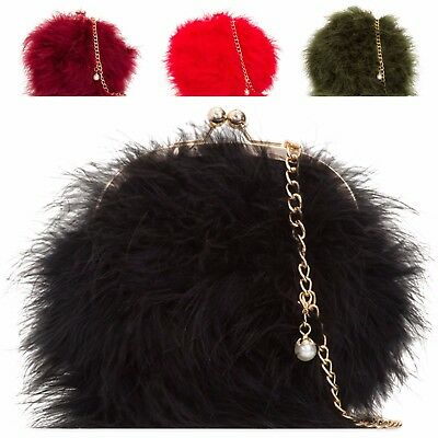 Ladies Faux Fur Clutch Bag Compact Party Bag Fur Handbag Evening Purse KL2125
