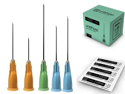 Unisharp Hypodermic Needles Sealed 100 200 300 500 Discreet & Private Blue Green