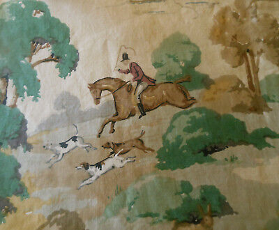 Vintage French or English Cotton Fabric ~ Equestrian Hunt ~ Green Brown Red