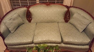 "Antique 75"" wide sofa and 32"" wide chair."