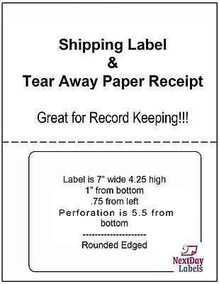 1000 LABELS PAYPAL / Ebay Shipping w/ Tear off Paper Receipt Click N