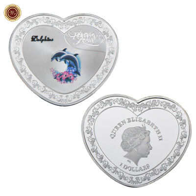 WR Jumping Dolphin Forever Love Heart Shaped Silver Coin 1$ Queen Elizabeth Gift