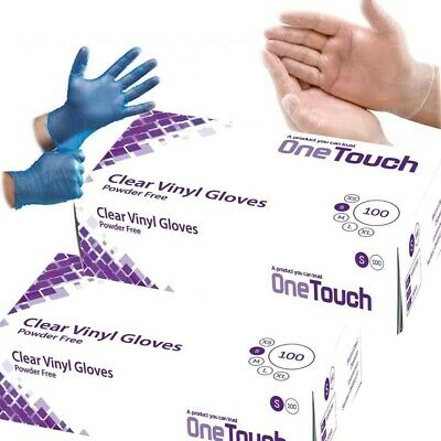 Disposable Powder Free Clear & Blue Vinyl Gloves Food Medical Surgical