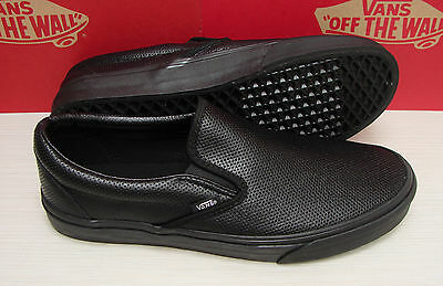 1059aaee301e3c Vans Classic Slip On Perf Leather VN00018DGKA Black Black Women s Size 7.5